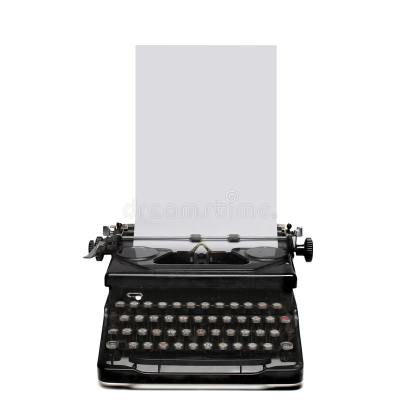 Typewriter. Black typewriter with white paper stock image