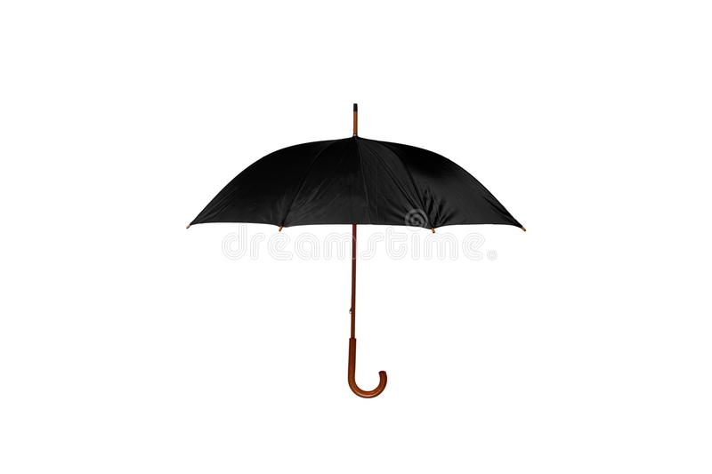 Black Umbrella Center on White Background. Black Umbrella with Wooden Curved Handle Center on White Background stock images