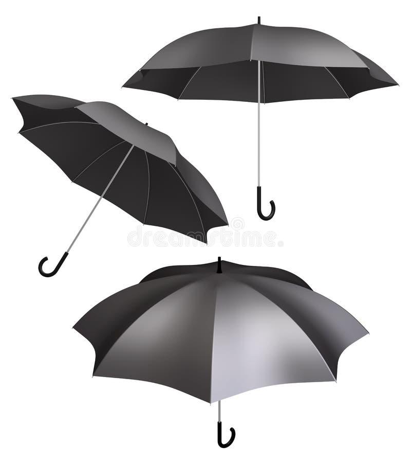Download Black Umbrella Isolated Different Views Stock Illustration - Illustration: 31223467