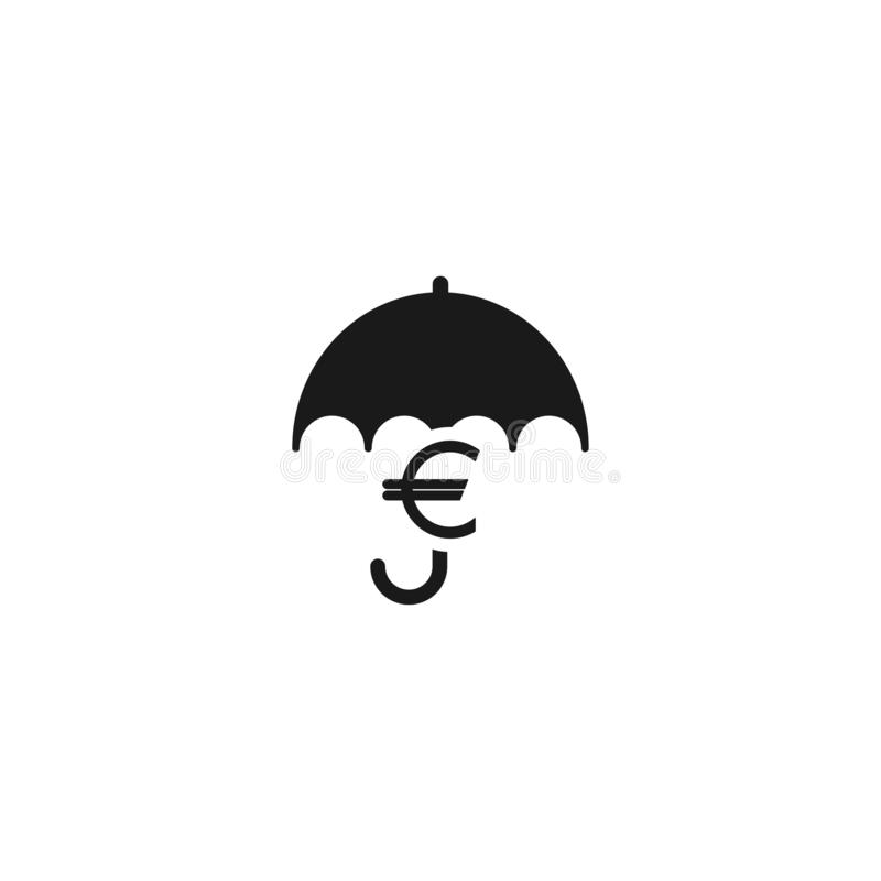 Black umbrella with euro sign under it. Vector flat icon isolated on white. vector illustration