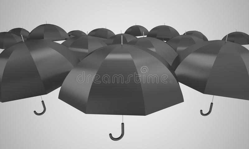 Black umbrellas. 3d high quality rendering royalty free illustration