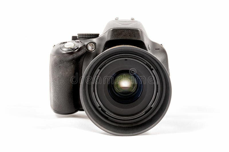 Black unbranded DSLR camera isolated on white background. Front view of a black unbranded DSLR camera isolated on white background stock photo