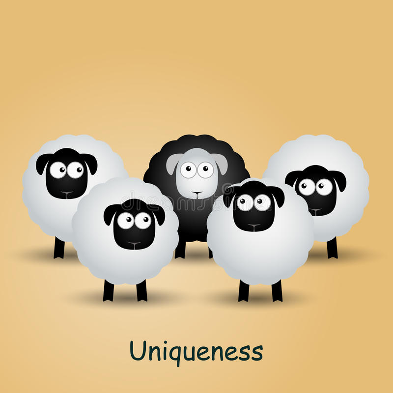 Black unique sheep. Leader, leadership, individuality, ambition, uniqueness, success. royalty free illustration