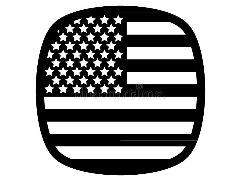 Black USA Flag Icon. Vector Illustration of USA Flag Icon stock illustration