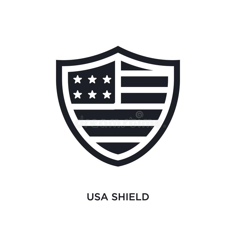 Black usa shield isolated vector icon. simple element illustration from united states of america concept vector icons. usa shield. Editable logo symbol design vector illustration
