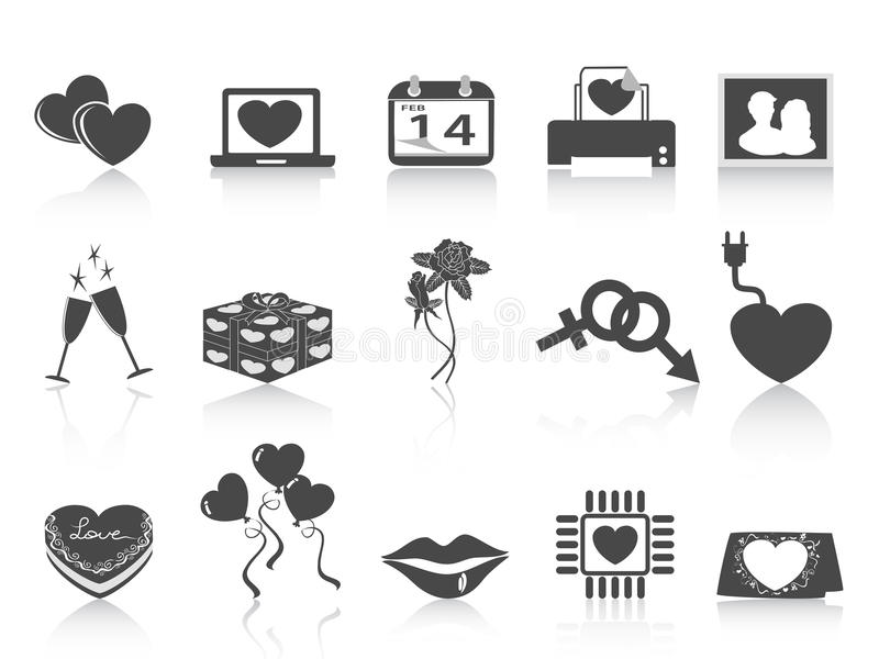 Download Black Valentines day icons stock vector. Image of february - 22952709