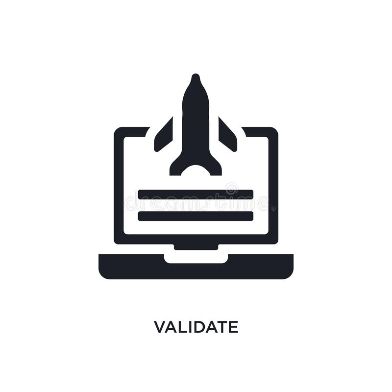 black validate isolated vector icon. simple element illustration from startup concept vector icons. validate editable logo symbol stock illustration