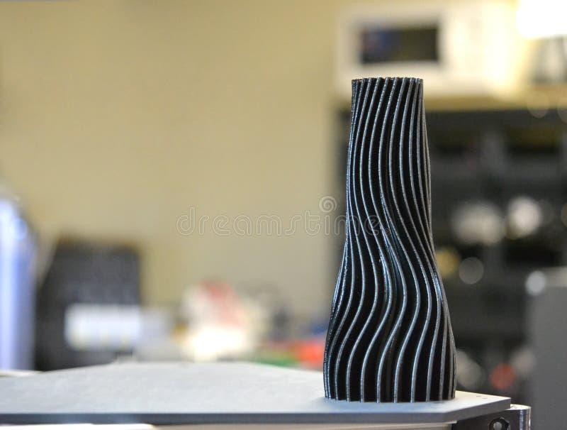 Black vase closeup object printed 3d printer. Close-up. Progressive modern additive technologies 4.0 industrial revolution royalty free stock photos