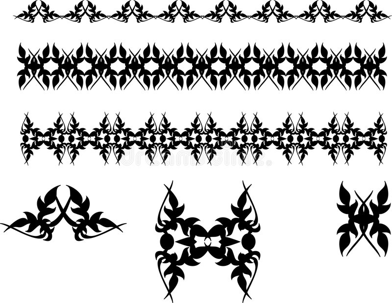 Black Vector Abstract Symbols. Abstract black symbols on white background stock illustration