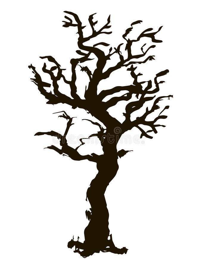 Black vector contour of a deciduous curve bent knotty branchy stylized tree without leaves object isolated on white background. Black vector contour of a vector illustration