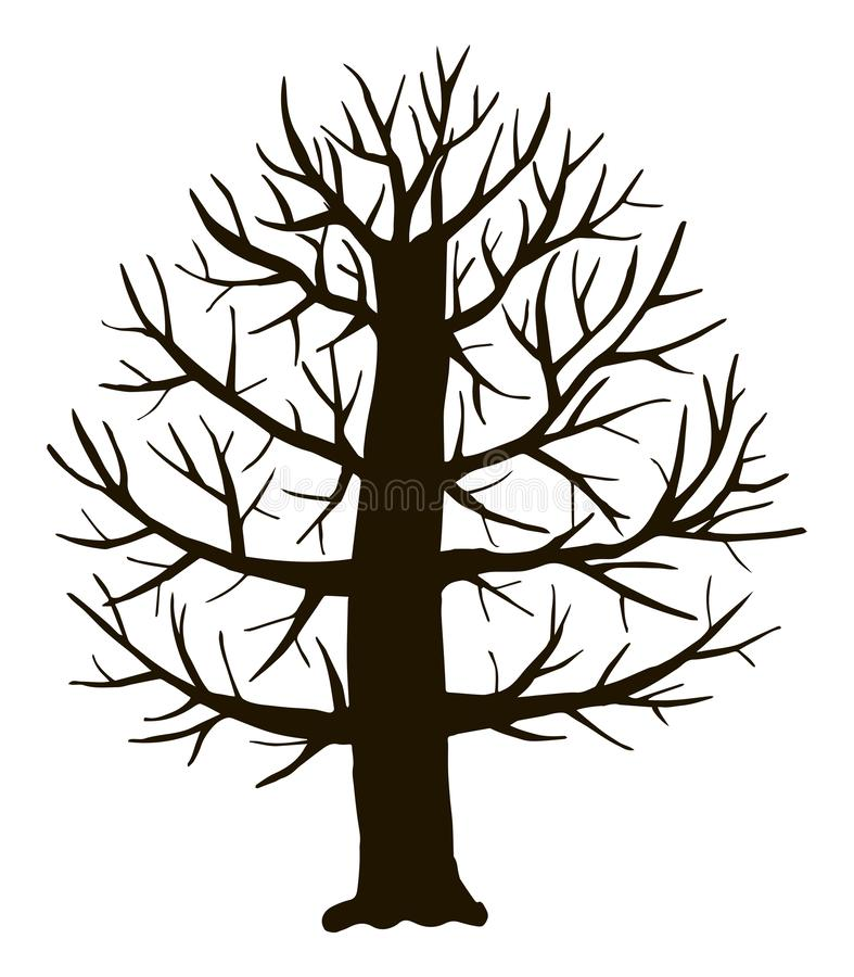 Black vector contour of deciduous simple thick branchy stylized fairy-tale tree without leaves object isolated on white background. Black vector contour of royalty free illustration
