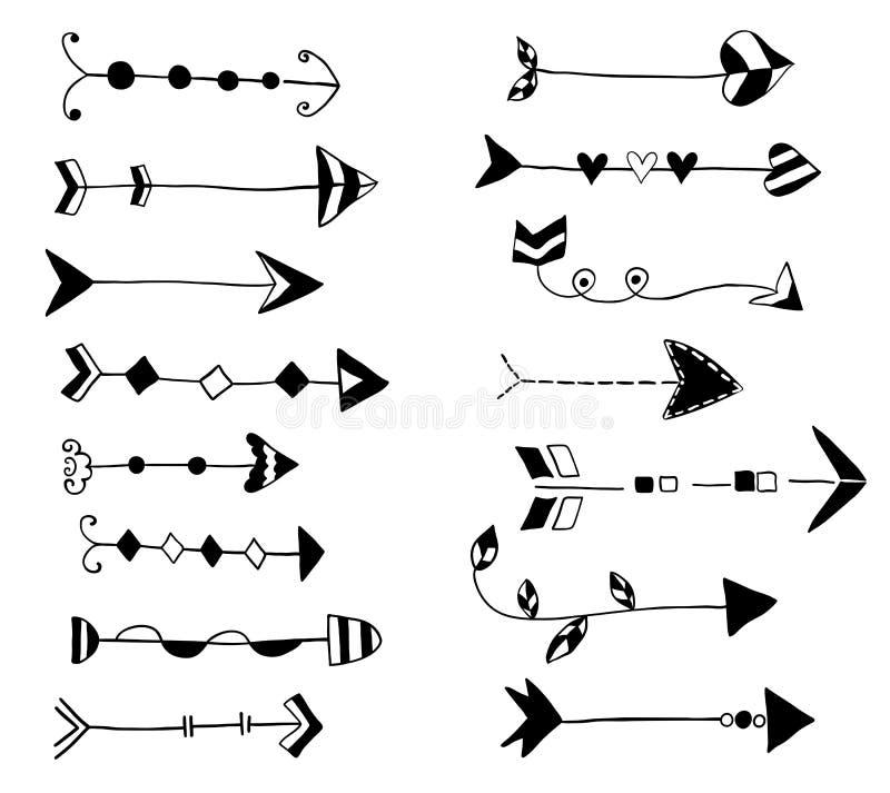 Black vector doodle arrows, hand drawn vector illustration