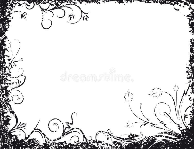 Black vector floral frame in grunge style for your design stock illustration