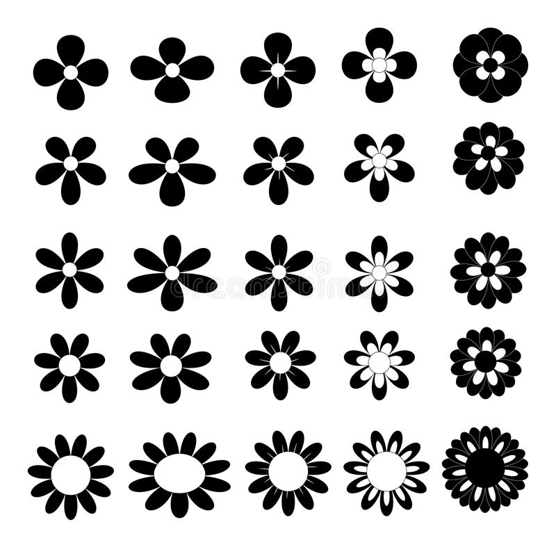Black vector flower icon collection on white background vector illustration