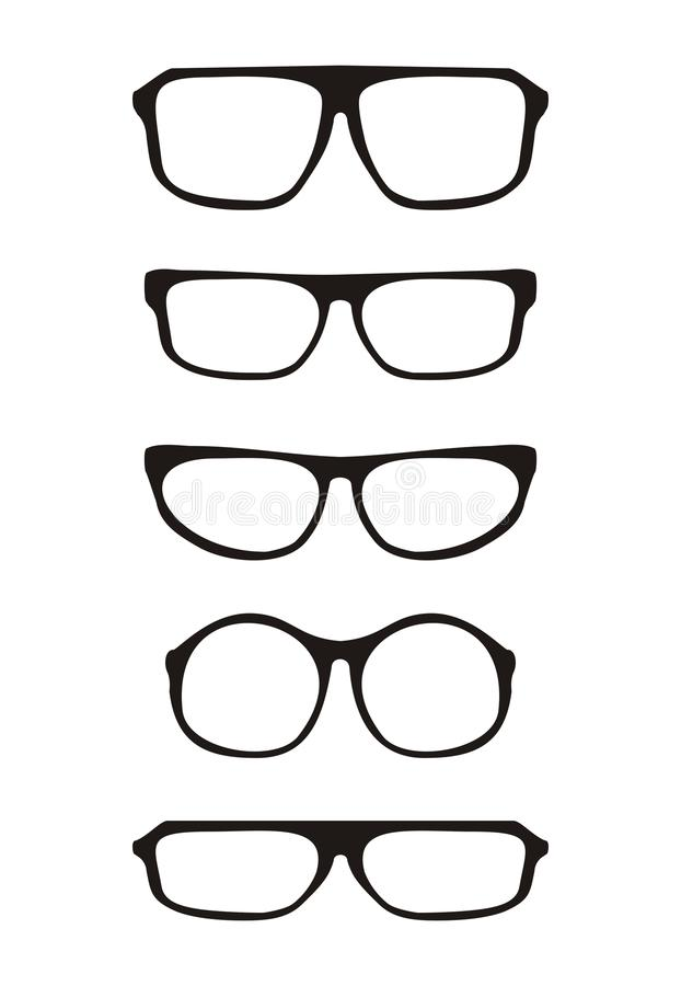 Download Black Vector Glasses Set With Thick Holder Retro H Stock Vector - Illustration: 32503205