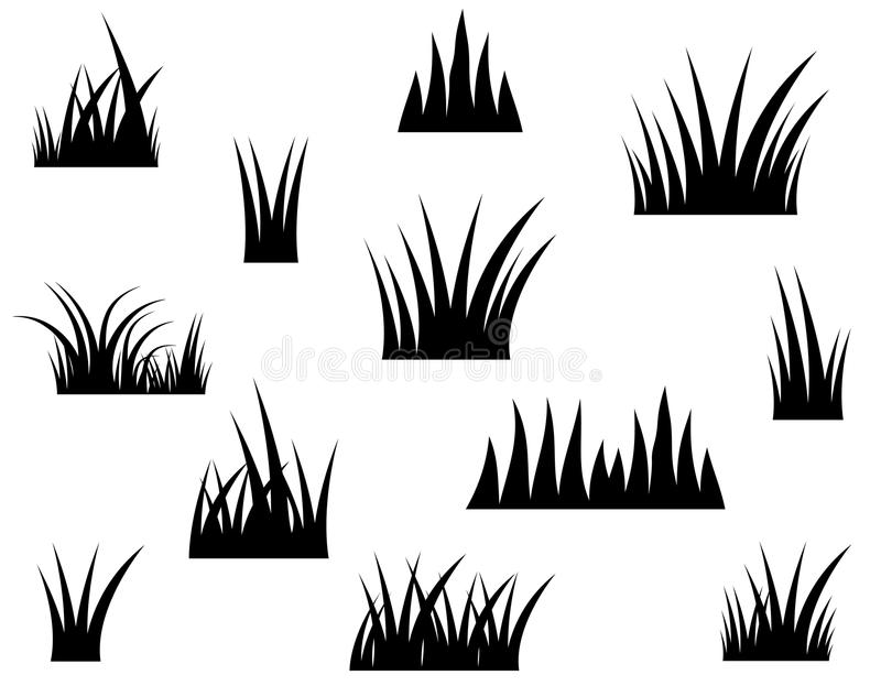 Black vector grass silhouette drawing royalty free illustration