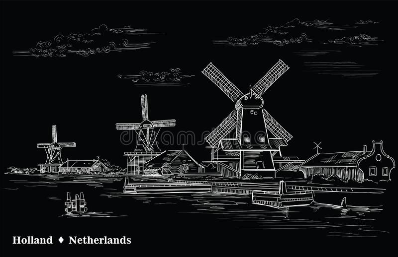 Black vector hand drawing Holland 2. Vector hand drawing Illustration of watermill in Amsterdam Netherlands, Holland. Landmark of Holland. Vector engraving royalty free illustration