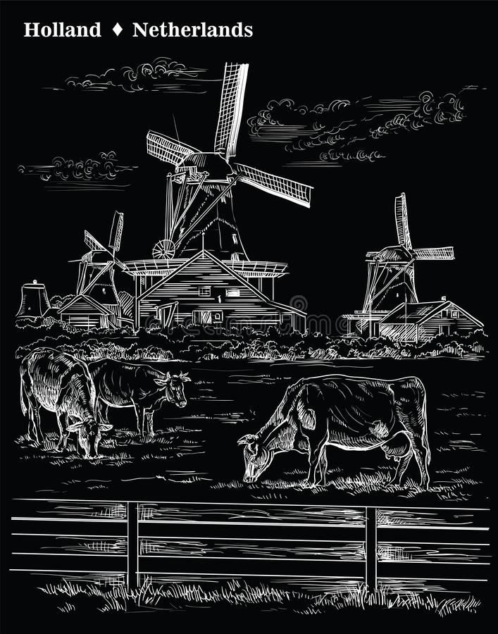Black vector hand drawing Holland 8. Vector hand drawing Illustration of Landmark watermill in Amsterdam Netherlands, Holland. Watermill and cows grazing on the stock illustration