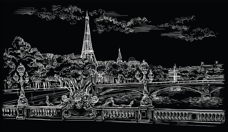 Black vector hand drawing Paris 8. Vector hand drawing Illustration of Eiffel Tower Paris, France. Landmark of Paris. Cityscape with Eiffel Tower and Pont vector illustration