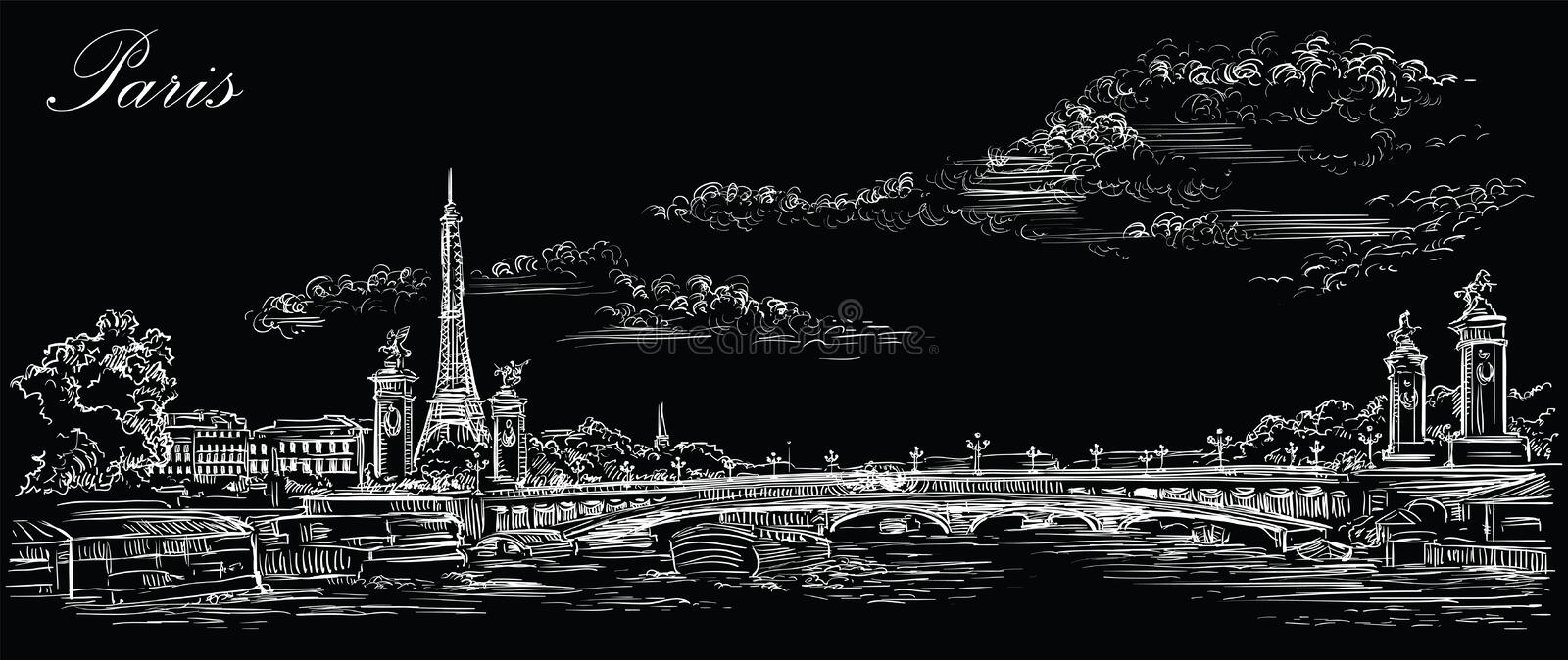 Black vector hand drawing Paris 4. Vector hand drawing Illustration of Eiffel Tower Paris, France. Landmark of Paris. Panoramic cityscape with Eiffel Tower and stock illustration