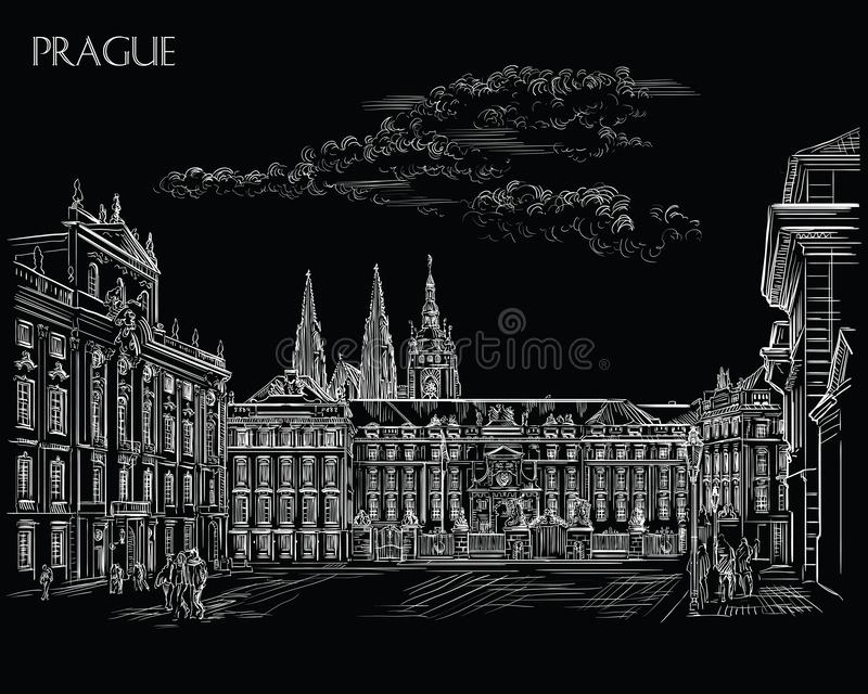 Black vector hand drawing Prague 1. Vector hand drawing Illustration of Hradcany square. The Central gate of the Hradcany Castle..Landmark of Prague, Czech royalty free illustration