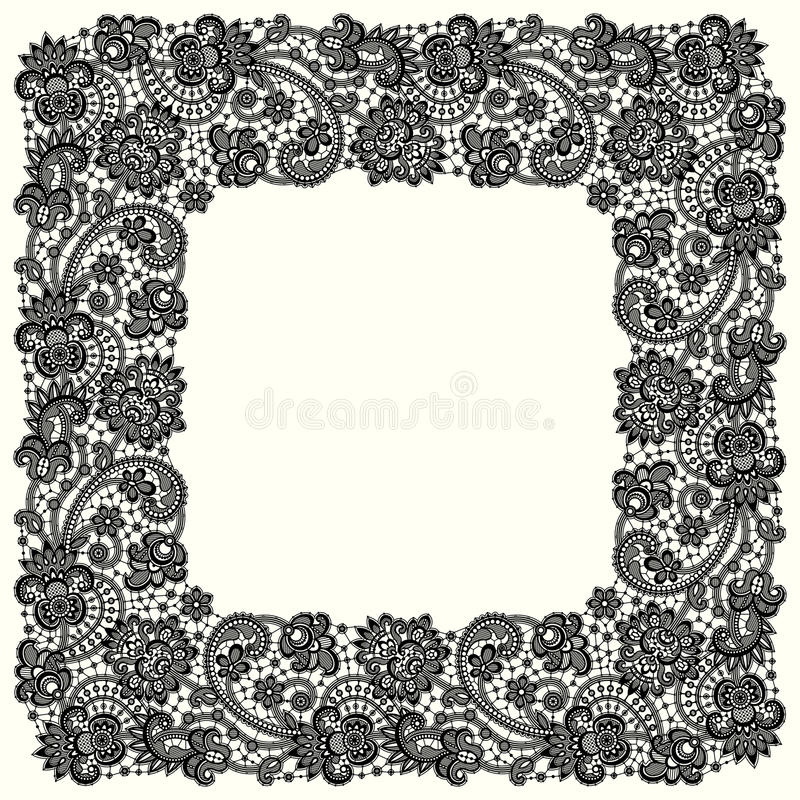 Black Vector Lace. Square Frame. royalty free illustration