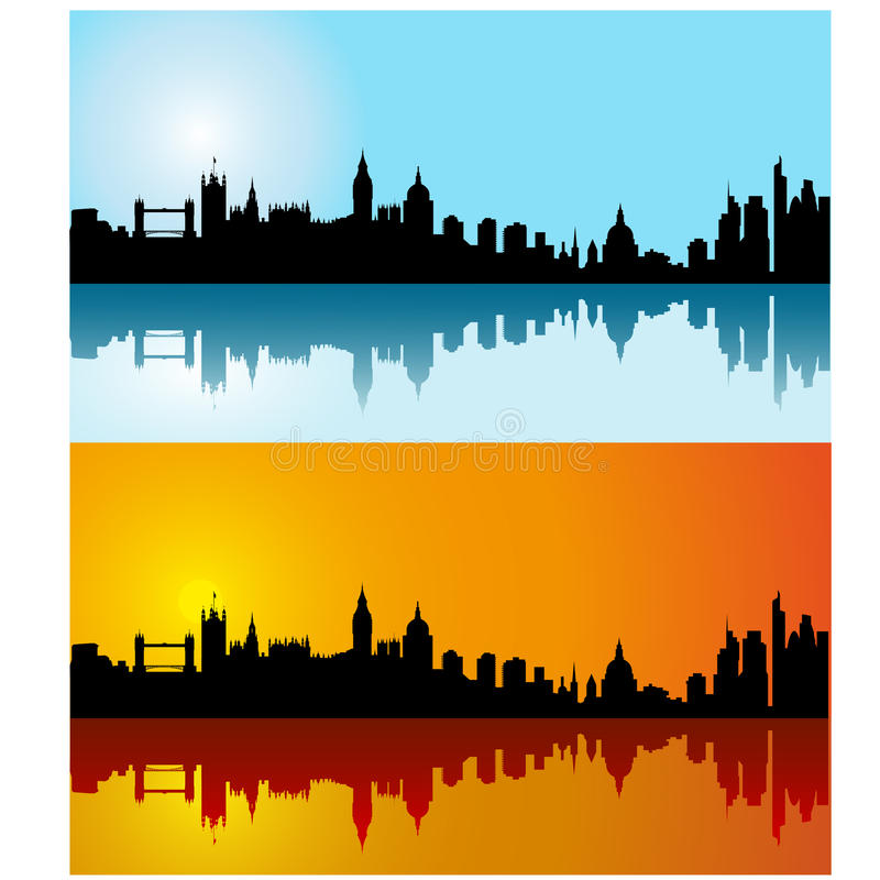 Free Black Vector London Silhouette Skyline On Day Stock Image - 12028541