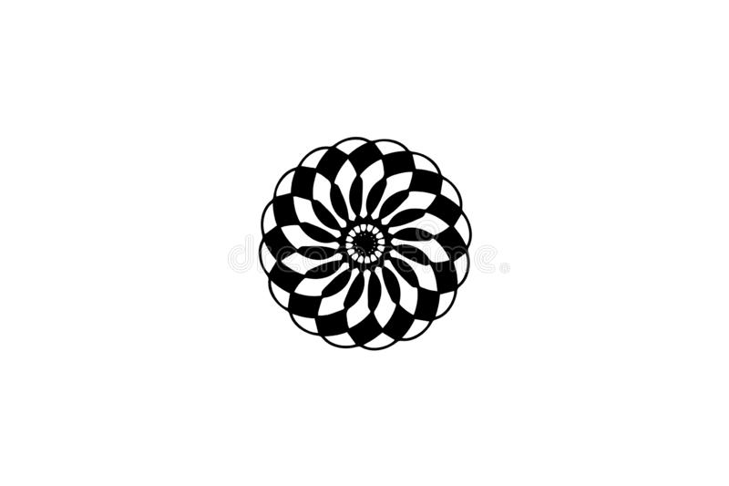 Black vector mandala on white background for cutout. Doodle mandala decor element. Floral stamp template. stock illustration