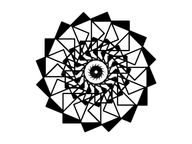 Black vector mandala on white background. Futurist mandala decor element. Round stamp template. stock illustration