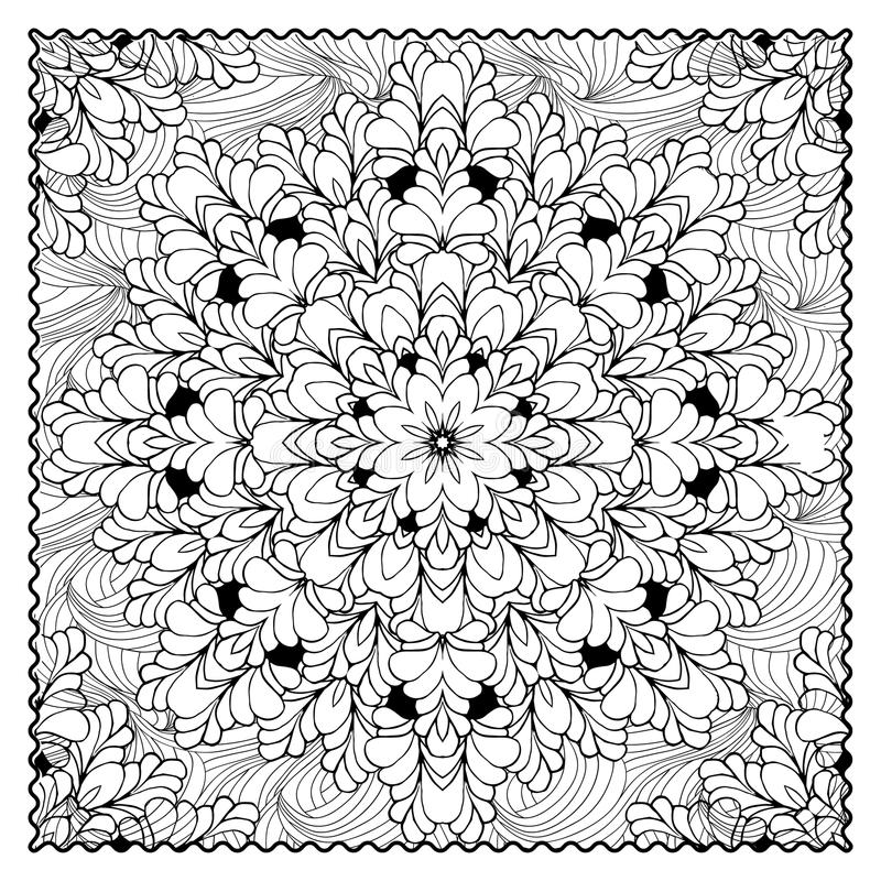 Black vector mono color illustration.Adult Coloring book page design. For adults or kids. Vector template.Ornamental border and frame stock illustration