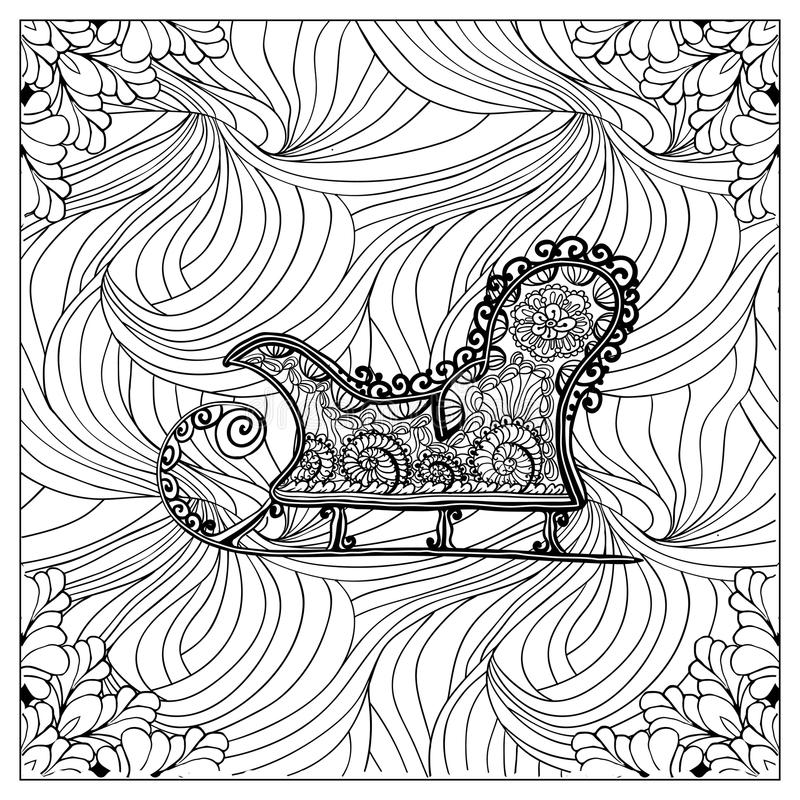Black vector mono color illustration. Adult Coloring book page design, for adults or kids. Vector template.Ornamental border and frame vector illustration