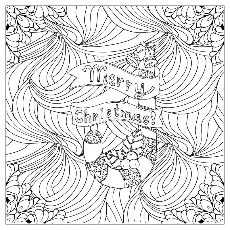 Black vector mono color illustration.Adult Coloring book page design. For adults or kids. Vector template.Ornamental border and frame royalty free illustration