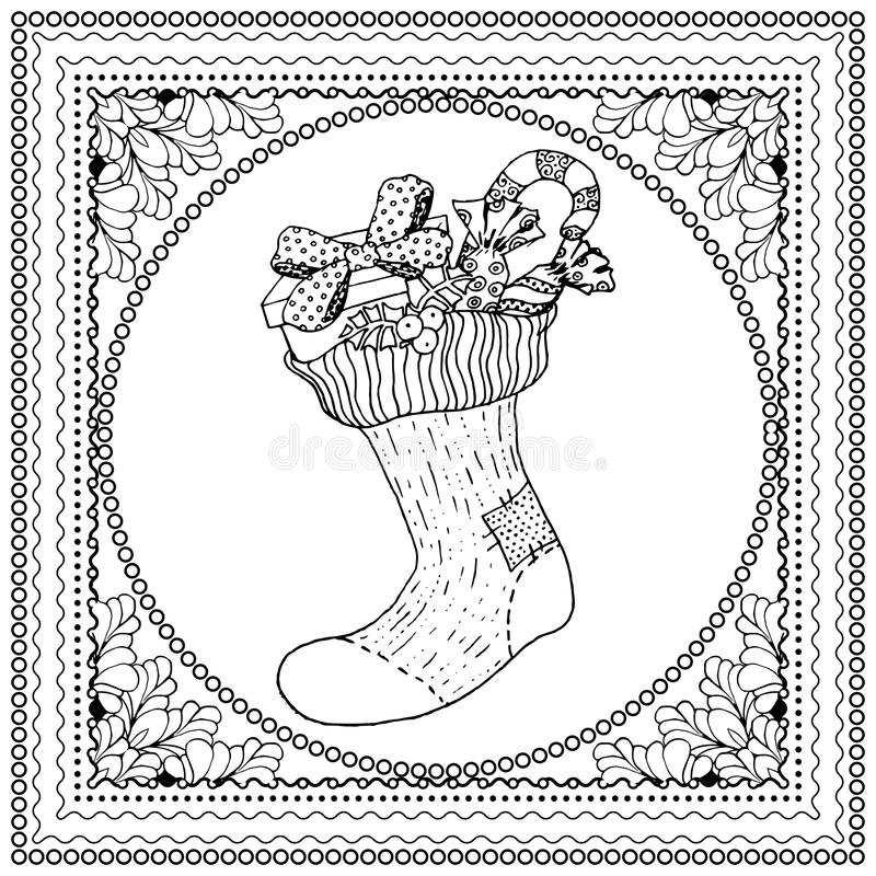 Black vector mono color illustration for Merry Christmas. And Happy New Year 2016 print design. Coloring book page design for adults or kids. Vector template vector illustration