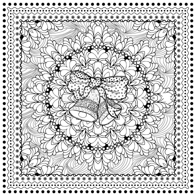 Black vector mono color illustration. For Merry Christmas and Happy New Year 2016 print design. Coloring book page design for adults or kids. Vector template stock illustration