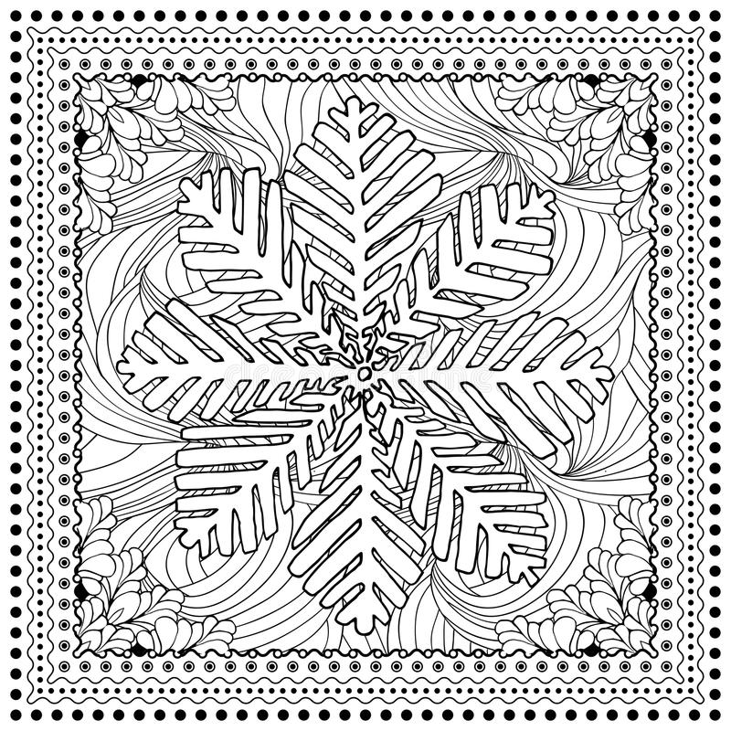 Black vector mono color illustration for Merry Christmas. And Happy New Year 2016 print design. Coloring book page design for adults or kids. Vector template stock illustration