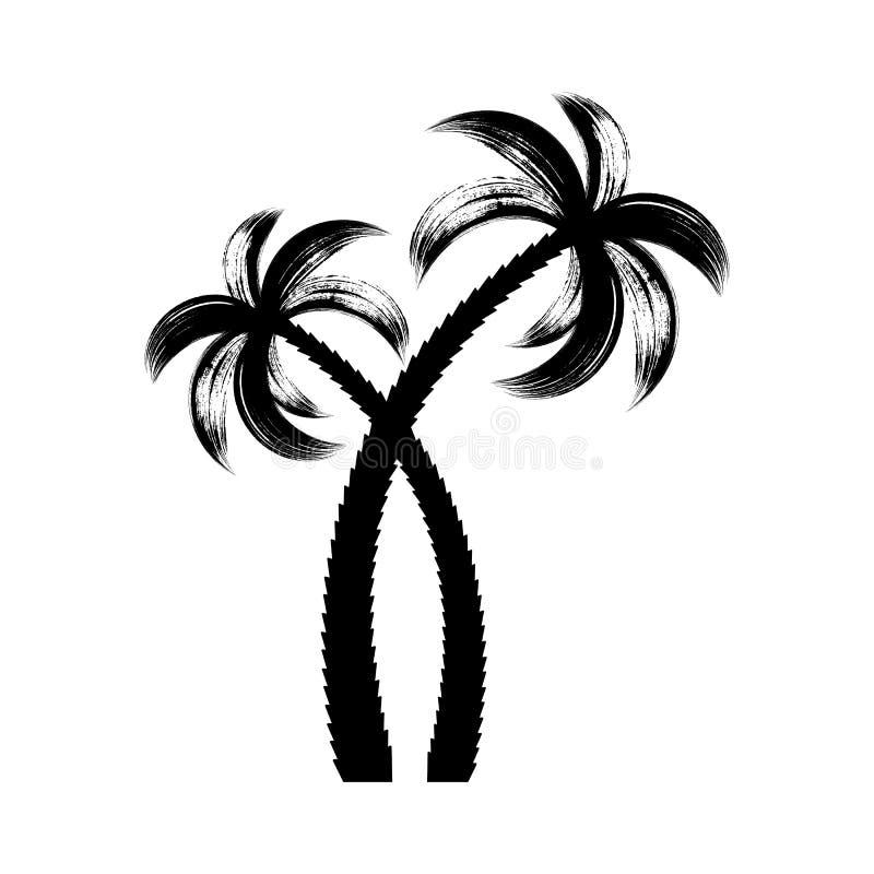 Black vector palm trees brush stroke design. Black vector palm tree icons brush stroke design royalty free illustration
