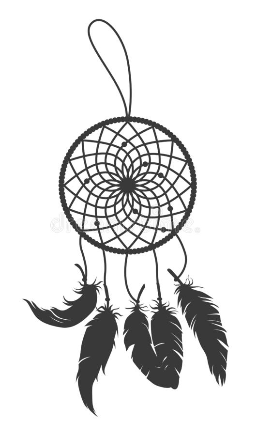 Black vector silhouette of dream catcher with feathers isolated on white background stock illustration