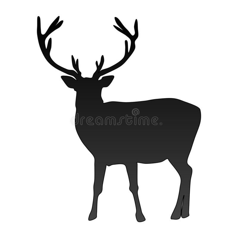 Free Black Vector Silhouette Of Deer Isolated On White Background Royalty Free Stock Images - 196439569