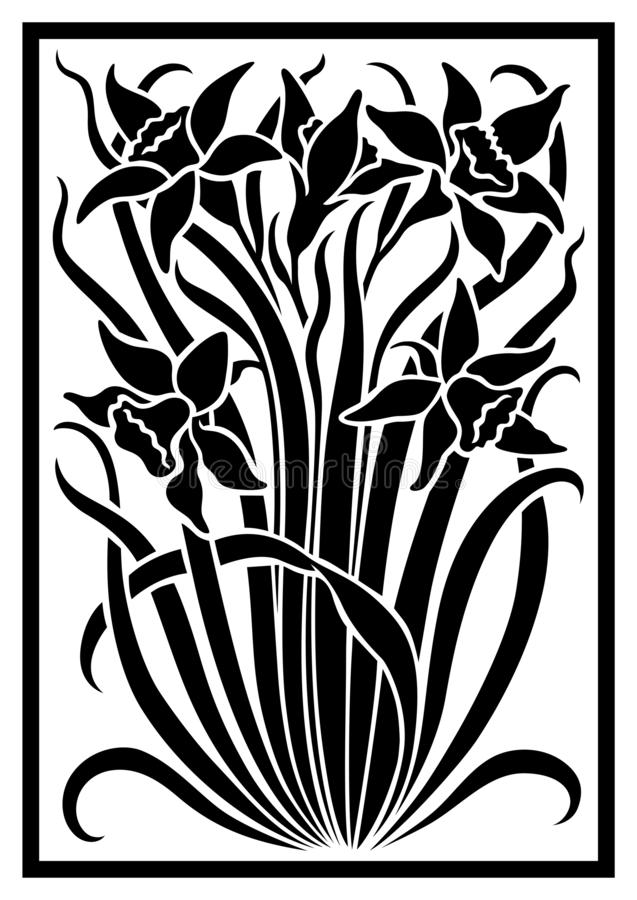 Free Black Vector Silhouette Of Flowers Ornament. Stock Photography - 166939802