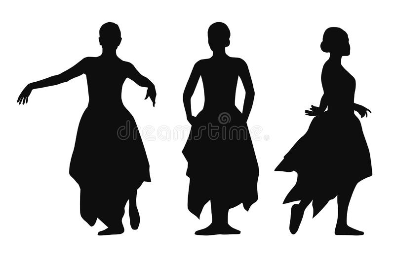 Black vector silhouettes of dancing woman isolated on white background vector illustration