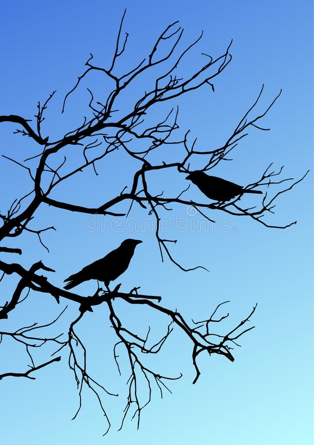 Black vector silhouettes of two birds sitting on a branch on blu royalty free stock photo