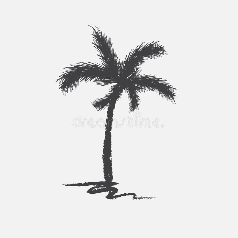 Black vector single palm tree silhouette icon isolated. On a white background stock illustration