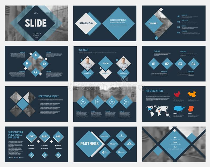 Black vector slides with blue rhombuses for annual business reports. royalty free illustration