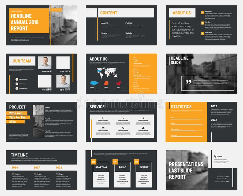 Black vector slides with gray and orange design elements and a p stock illustration