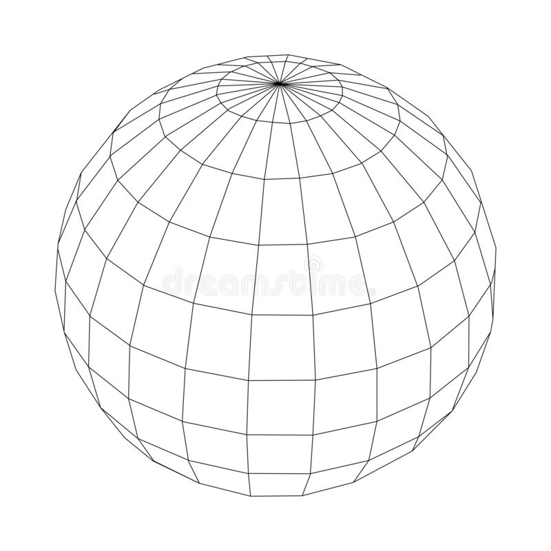 Black vector wireframe sphere isolated on white background.  royalty free illustration
