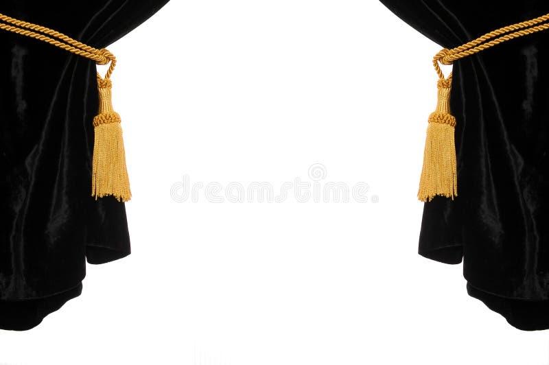 Black velvet curtain stock photo