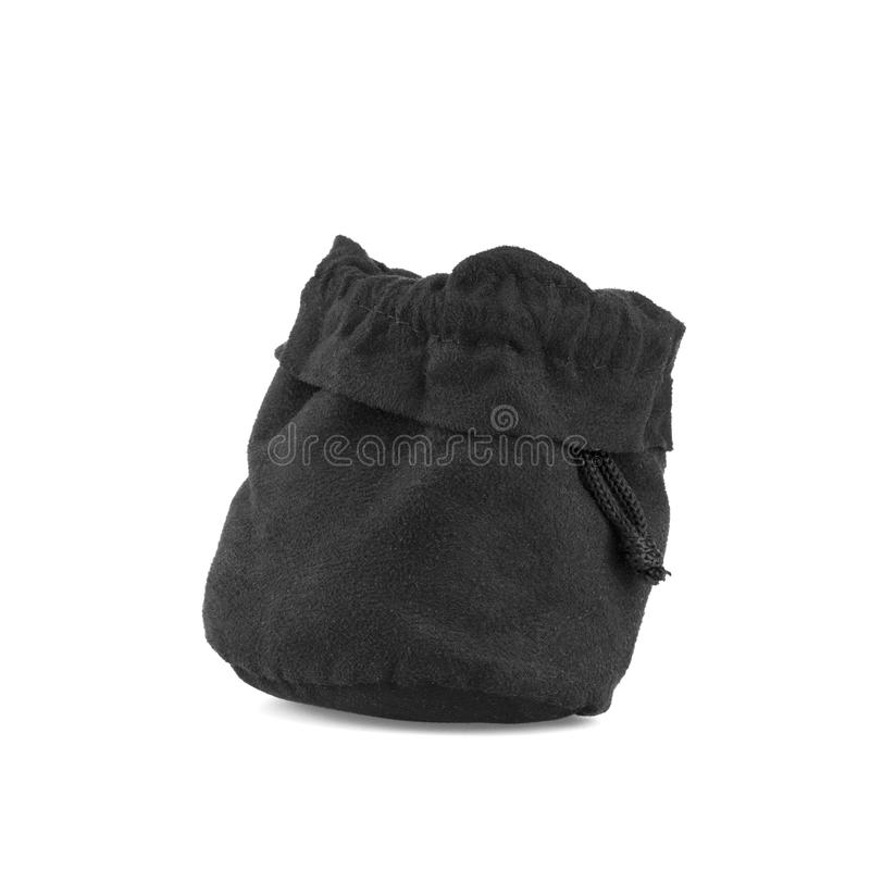 Download Black Velvet Pouch On White Background Stock Photo - Image: 83707716