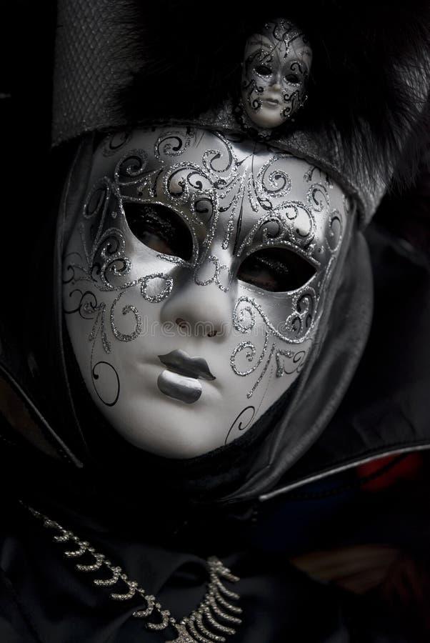 Black venetian mask stock image