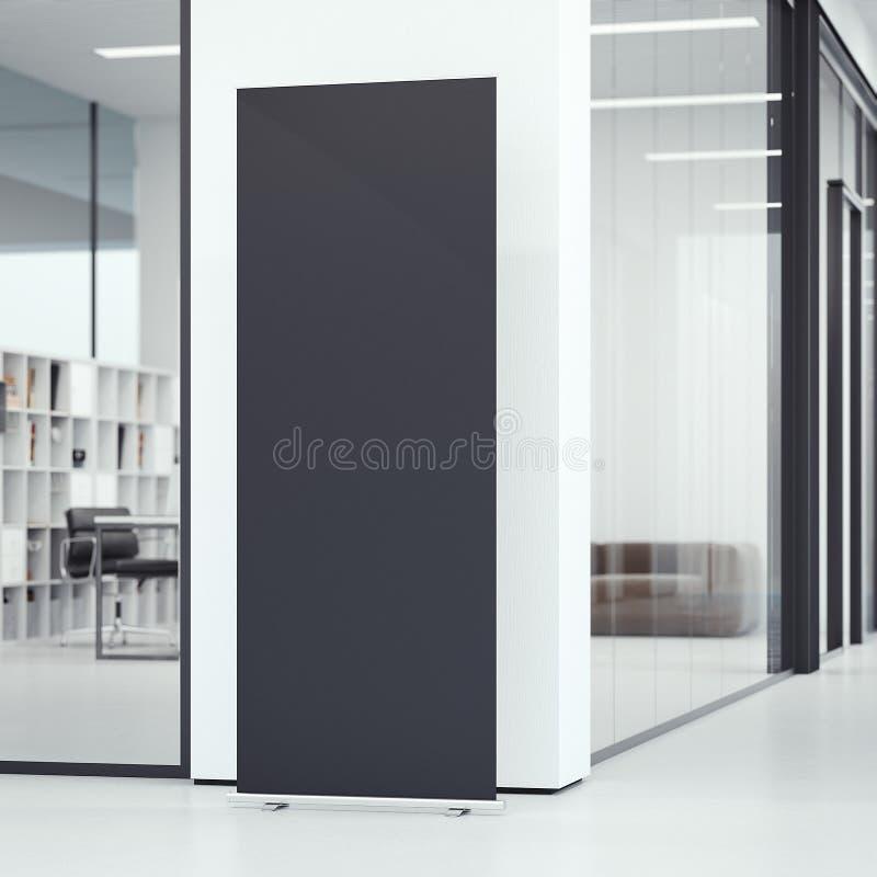 Black vertical banner. 3d rendering vector illustration