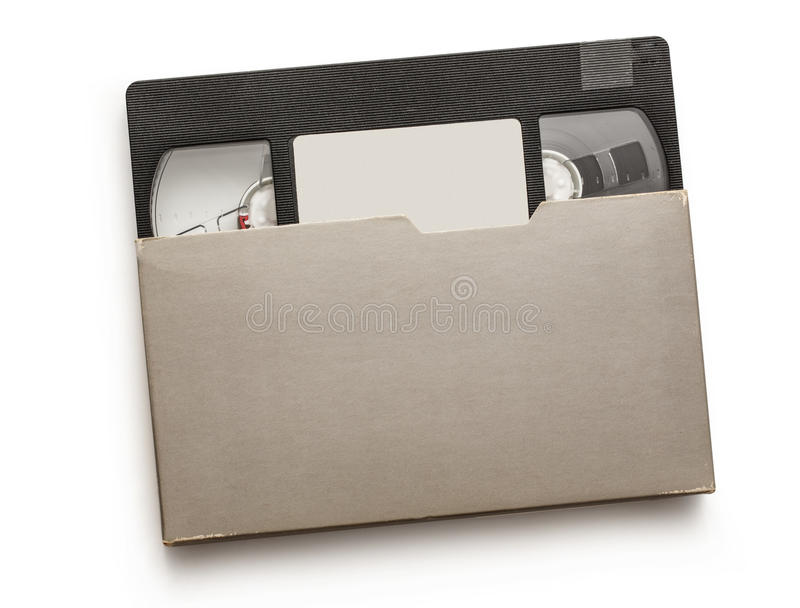 Black video cassette. On the white background stock photography